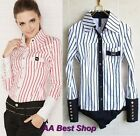 Classic Fashion Striped Long Sleeved  Bodysuit Blouse Top-XS S M L XL