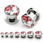 Hot Punk Pick Gauge Stainless Steel Peony Flower Ear Flesh Tunnel Plug Stretcher