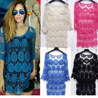 Women Hollow Floral Lace Crochet Long Smock Tops Shirt Knit Jumper Blouse Poncho