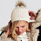 Winter Woolly Beanie Hat with Faux Fur Pom Pom Ribbed Knit Keep Warm in the Cold