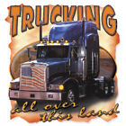 "American Semi Trucks Southern "" TRUCKING ALL OVER THIS LAND "" T SHIRT 50/50"