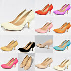 WOMENS LOW MIDDLE HEELS PUMPS CONCEALED PLATFORM WORK COURT SHOES US 4-11