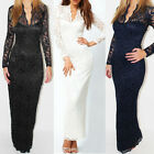Fashion Women Sexy Long Sleeve V-neck Lace Maxi Dress Evening Cocktail Party