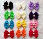 12pcs Big 6Rows Lace 3D Rose Bowknot Hair accessory With Crystal button center