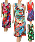 Womens Faux Wrap Summer Party Day Dress Printed Size 10 12 14 16 18 New Stretch