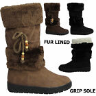 WOMENS LADIES FLAT LOW HEEL LACE FUR LINED COLLAR CALF BOOTS SIZE 3 4 5 6 7 8
