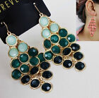 Fashion 3 colors Crystals Beads Leaf Earrings