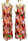 Summer Beach Floral Maxi Dress Orange Yellow Red Print Cotton Size S/M M/L New