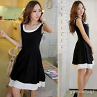 Korean Women's Sleeveless Chiffon Summer Sundress Skater Swing Mini Dress Black