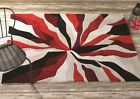 Modern Red Black White Abstract Design High Quality Rug Soft Pile Floor Carpets