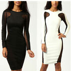 Sexy Bandage Women Dress Mesh Cut Out Party Clubwear Bodycon Dress Long Sleeve