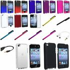 Snap-On Rubberized Hard Case+Clip Stylus+Clear SP+Splitter For iPod Touch 4 4th
