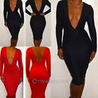 Womens Deep V Neck Long Sleeve Bodycon Dress Elastic Evening Party Wrap Dress