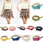 Korean Lady PU Faux Leather Bow Tie Thin Belt Long Lank Candy Color Girdle New
