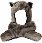 Wolf Faux Fur Full Length Animal Faux Fur 3 in 1 Function Hat Scarves Mitten
