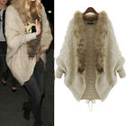 Women Faux Fur Collar Batwing Jumper Poncho Jacket Cardigan Sweater Coat Outwear