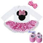 Baby Pink Polka Dots Minnie Mouse Jumpsuit Bodysuit Party Dress Romper Shoes