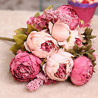Realistic Fake Peony Artificial Silk Hydrangea Flower Bouquet Wedding Home Decor