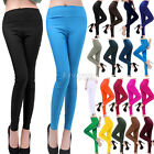 Womens Hight Waist Candy Color Slim Skinny Pencil Trousers Pants Leggings