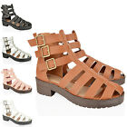 WOMENS LADIES CUT OUT BLOCK HEEL CHUNKY THICK SOLE ANKLE STRAP GLADIATOR SANDALS
