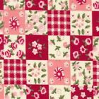 Floral Patchwork Polka Squares Cotton Fabric FQS   PINK BLUE GREY Choice Colour