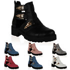 12L WOMENS PU LEATHER LADIES CUT OUT CHUNKY GRIP SOLE ANKLE BOOTS SHOES SIZE 3-8