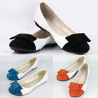 New Womens Ladies Bow Flat Prom Shoes Ballet Ballerina Casual Dolly Pumps
