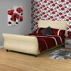 CREAM FAUX LEATHER 3FT/3FT6/4FT/4FT6/5FT/6FT SLEIGH BED+COLOUR+MATTRESS CHOICE