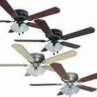 52 Inch Flush Mount Hugger Ceiling Fan w Light Kit Oil RubbedBronze/Satin Nickel