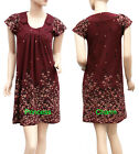 Cap Sleeve Retro Shift Dress Foliage Print Knit Burgundy Size 8 10 12 14 16 New