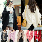 Womens Loose Batwing Sleeve Cable Knitted Chunky Cardigan Sweater Cape Shawl