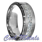 9mm Tungsten Carbide Princess Cut CZ Stepped edge Wedding Band Ring Size 7-15