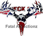 Rebel Flag Redneck Style  Deer Skull S4 Vinyl Sticker Decal buck confederate