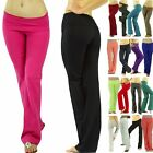 2 Pairs of Women's Comfy Soft Stretch-Knit Cotton Fold-Over Waistband Yoga Pants