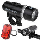 Waterproof 5-LED Lamp Bicycle Bike Front Head Light + Rear Safety Flashlight