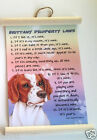 BRITTANY PROPERTY LAWS WALL HANGING DOG NOVELTY  26