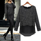 NEW Womens Chiffon Peplum Knit Top Shirt Jumper Sweater Wool Blouse Size 8-18