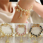 Handmade Multi-element Eiffel Tower Gold Leather Rope Chain Crystal Bracelet BD2
