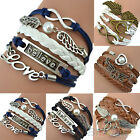 BRAIDED MULTILAYER BRACELET LOVE ANGEL WINGS OWL DEATHLY HALLOWS BANGLE CHAIN
