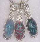 EGYPTIAN Carved Stone SCARAB BEETLE Pendant Sterling Silver Wire Wrap