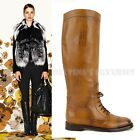 $1,150 GUCCI BOOTS BOULANGER LACED EQUESTRIAN TALL FLAT CUIR LEATHER 34.5 4.5