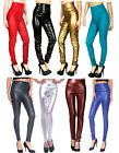 Sexy Womens Polyurethane Leather Solid Color High Waist Leggings Pants