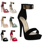 Womens Faux Suede Ladies Strappy High Heels Metallic Ankle Strap Shoes Size 3-8