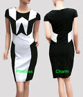 Black White Colour Block Bodycon Pencil Dress Cap Sleeve Size 8 10 12 14 16 New
