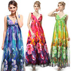 Sexy V-neck Floral Printed Chiffon Evening Gown Summer Party Prom Dress 09349
