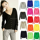 New Womens Ladies V Neck Long Sleeve Knitted Button Top Cardigan Knitwear