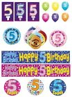 5th Birthday AGE 5 - Large Range of CAKE CANDLES & Party BANNERS - Plastic/Foil