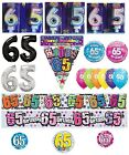 65th Birthday AGE 65 - Large Range of CAKE CANDLES & Party BANNERS(Plastic/Foil)