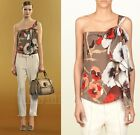 $995 GUCCI TOP BLOUSE OSHIBANA PRINT SILK GEORGETTE ONE SHOULDER BOW DETAIL