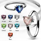 Surgical Steel Captive Bead Ring (CBR) with Solitaire Heart CZ Stone